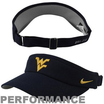 Nike West Virginia Mountaineers Sideline Dri-FIT Adjustable Performance Visor - Navy Blue