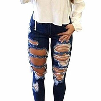 Sexyshine Women's High Waisted Skinny Destroyed Ripped Hole Denim Pants Long Stretch Pencil Jeans(Be,L)