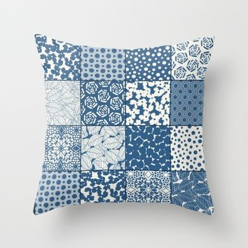 Tile Patchwork Throw Pillow by Eileen Paulino