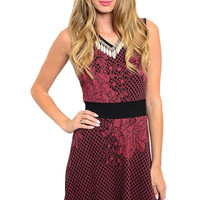 Textured Lace Print Fit & Flare Cocktail Dress