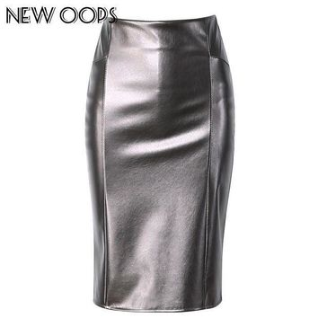 CREYWQA NEW OOPS Women Faux Leather slim High Waist Skirts 2018 Casual Tube Wrap Bodycon PU Pencil Skirts Midi Saias Femininos