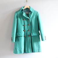 Green double breasted princess seam wool coat mid weight quitted lining design size s-m