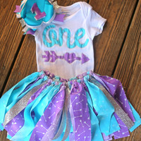 Frozen Birthday Outfit  - Frozen First Birthday Set - 1st Birthday Outfit Girl - Girl Smash Cake Set - Purple and Blue Birthday Outfit