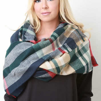 Walk In The Park Plaid Blanket Scarf