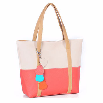 Sweet Blend Candy Color Leather Handbags