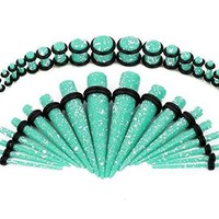 BodyJ4You Gauges Kit Aqua Paint Splatter Acrylic Tapers Plugs 14G-00G Ear Stretching Body Jewelry 36 Pieces
