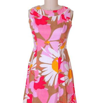 Vintage Cotton Hawaiian Print Sleeveless Dress 1960s 38-33-42