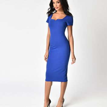 Unique Vintage Royal Blue Short Sleeve Harris Knit Wiggle Dress