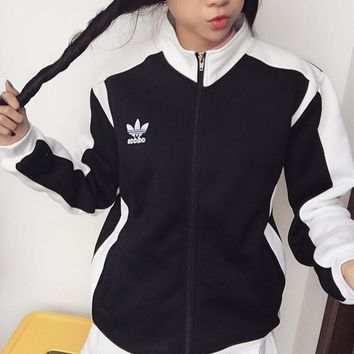 Adidas Women Fashion Hooded Zip Cardigan Jacket Coat Sweatshirt-1