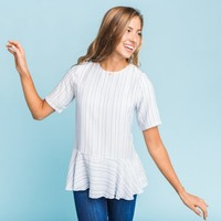 Yates Stripe Peplum Top | Called To Surf