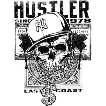 East Coast Hustler Skull (Black) Plastisol Heat Transfer