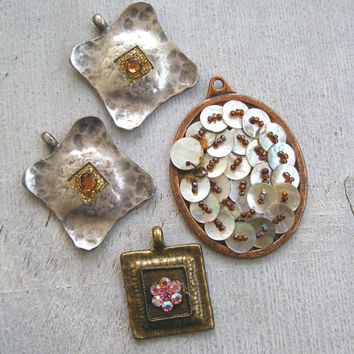 Vintage Jewelry Supply 4 Lot, Assorted Hipster Rhinestone Silver, Shell Copper Bold Charm Pendant, Reclaimed Eco Jewelry Making, Woman Gift