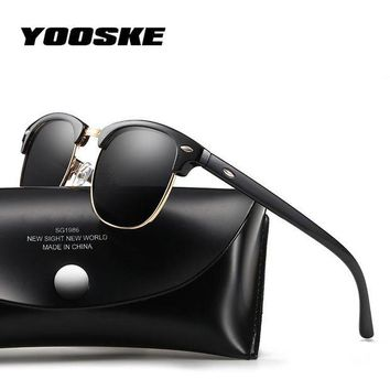 DCCKFS2 YOOSKE HD Polarized Lens Sunglasses Men Women Brand Designer Retro Vintage Sun Glasses Fashion Half Frame Mirror Sunglass UV400