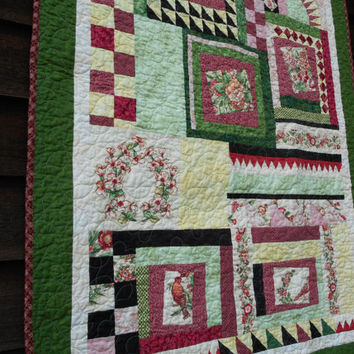 Floral Bird quilted throw, Pink cottage chic quilt blanket, handmade patchwork quilt, floral crib blanket, baby girl bedding, country decor