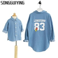 SONGGUIYING A62 New Casual Denim Shirt Blouse Family Matching Outfit Clothes Mother and Daughter Clothes Family Clothing