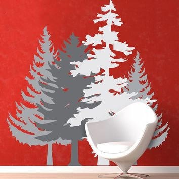 Cluster of 4 Winter Forest Trees Wall Decal Sticker. Grey Color Trees. Nursery Room Wall Decor. #6095