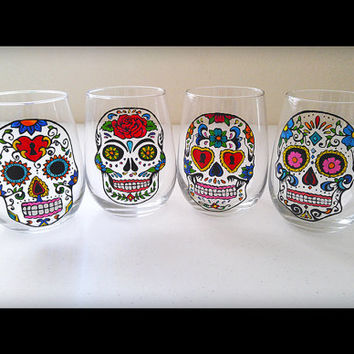 Sugar Skull Glasses Day of the Dead Dia De Los Muertos Dinnerware Gift Set