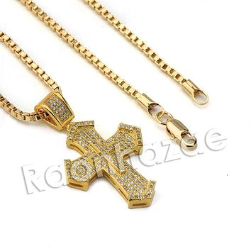 Lab diamond Micro Pave Medieval Jesus Cross Pendant w/ Miami Rope Chain BR009