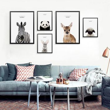 My Companions Animals Posters Prints Wall Art Canvas Painting, Cartoon Wall Pictures For Children Room HD2380