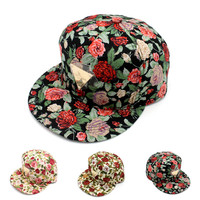 Korean Summer Floral Hip-hop Baseball Cap Hats [4917656452]