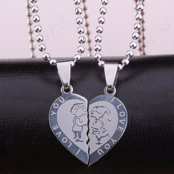 Hot Valentine's Day Couples Promise Double Half Heart Statement Necklace Colar Silver Color Lovers Pendants
