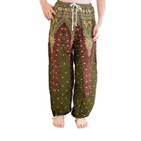 Green and Maroon Peacock Harem Pants