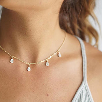 Dainty Diamond Choker Necklace, Rhinestone Charm Necklace Drew Drop Choker Jewelry, Layering Necklace, Gold Shaker Necklace Statement Choker