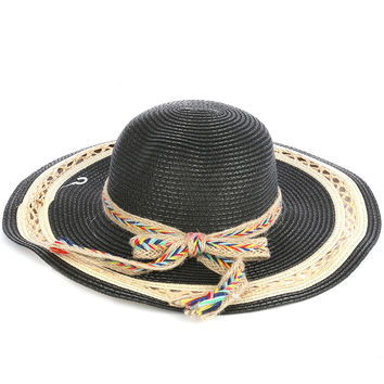 Braided Color Yarn Trim Floppy Straw Hat Black
