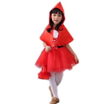 Children Girl Little Red Riding Hood Costume Kids Carnaval Costumes Cosplay Dress Up Halloween Costumes Children's Day Gifts