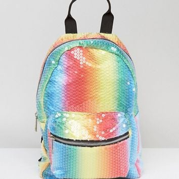 ASOS Sequin Rainbow Backpack at asos.com