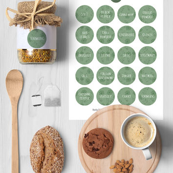 Printable Herb & Spice Jar Labels | Round Stickers | Green, Floral, 1.5 inch Circle, Pantry Organization, Kitchen stickers, Instant Download