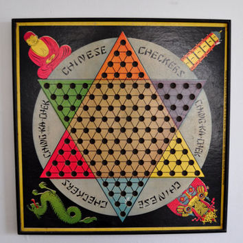 Vintage Chinese Checkers Board, Vintage Game Board, Game Room Decor, Wall Hanging, Gotham Pressed Steel Corporation, 1938, Ching Ka Chek