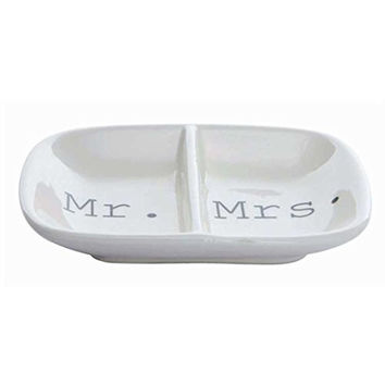 Mr. and Mrs. Ceramic 2 Section Ring Jewelry Dish