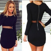 Sexy Bandages Dress Long Sleeve Zippers Prom Dress Skirt One Piece Dress [6339055681]