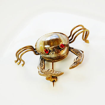Vintage Ocean Crab Brooch / Pin, Spanish Damascene, Ornate Gold, Red Rhinestones, Brown Cream Glass, 1950s Animal Figural Beach Jewelry