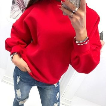 New Red Cut Out Round Neck Long Sleeve Fashion Pullover Sweatshirt