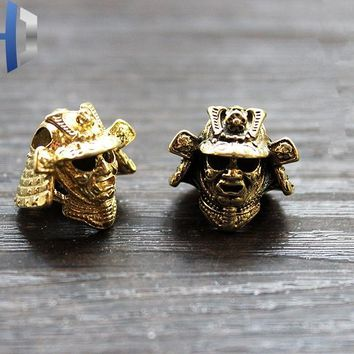 Paracord Beads Japanese Warrior Helmet Metal Charms For Paracord Bracelet Accessories Survival DIY Pendant Buckle Knife Lanyard