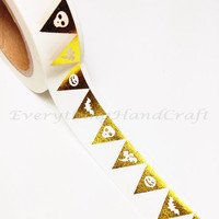 Flags Gold Foil Washi Tape / Halloween Masking Tape / Adhesive Tape / Decorative Scrapbooking Planner Sticker 10m g11