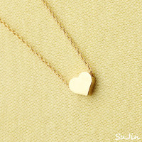 Shiny Cute Flat Heart Pendant, Gold Plated, Necklace