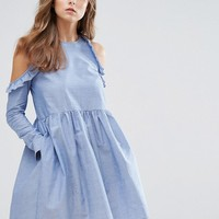 Nobody's Child Cold Shoulder Smock Dress With Ruffle Trim In Chambray at asos.com