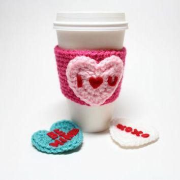 ONETOW conversation heart coffee cozy valentine s day coffee sleeve heart crochet can cozy