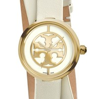 Women's Tory Burch 'Reva' Logo Dial Double Wrap Leather Strap Watch, 28mm - Ivory/ Gold