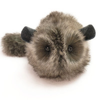 Dark Grey Stuffed Toy Chinchilla Faux Fur Plushie Small Size