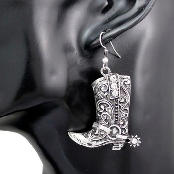Western Wild West Silver Cowgirl Boots Spur Rodeo Earrings Fancy Dress Costume Steampunk Jewelry
