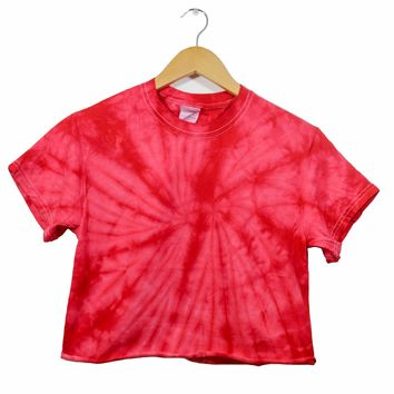 Cherry Red Tie-Dye Unisex Cropped Tee