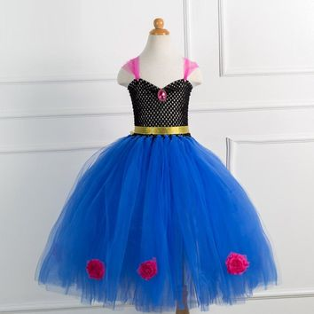 Girl Dresses For Girls Snow Queen Teenagers Children Party Dress Anna Elsa Vestidos Kids Costume