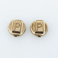 "Vintage Letter ""P"" Gold Button Covers"