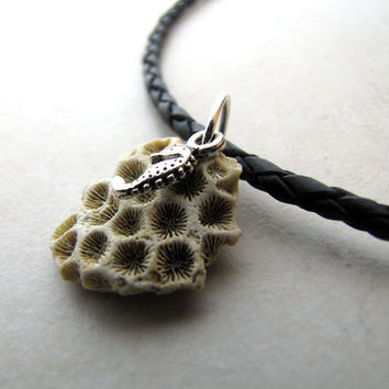 Mens Necklace Seahorse Coral Necklace Unisex Braided Leather Necklace