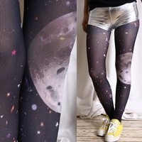 Cosmos Milkyway Space Stars Universe Japan Punk Rock EMO Moon Walk Print Tights