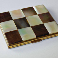 Elgin American Powder Compact Mother of Pearl Brown and White with Mirror